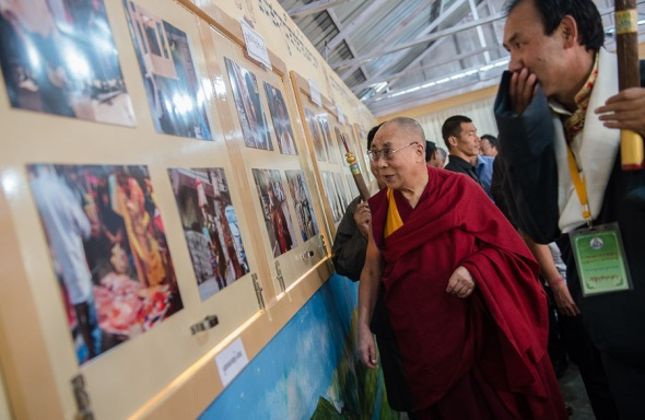 Photos exhibition of students on display marking the 10th Anniversary of Mewoen Tsuglag Petoen School (A Tibetan Model School)