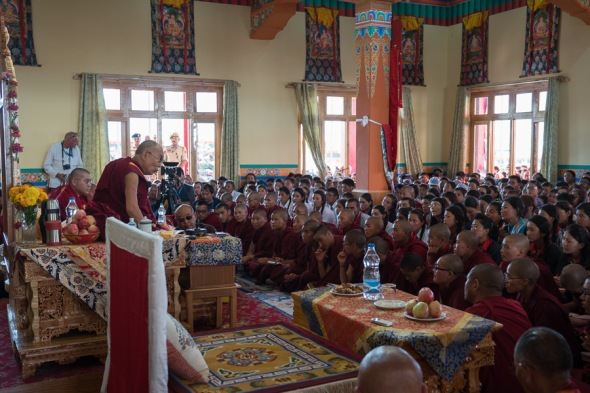 Interaction with students and youth of Ladakh at the new prayer hall in Thiksey teaching ground.