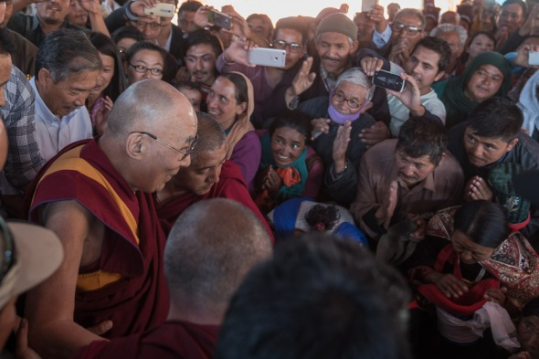 HHDL leaving for Imam Bargha Chuchot Gongma after the lunch and talk